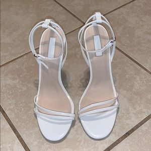 Forever 21 White Faux Leather Strappy Heels